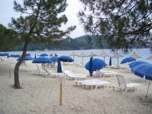 Koukounaries beach on a rainy day